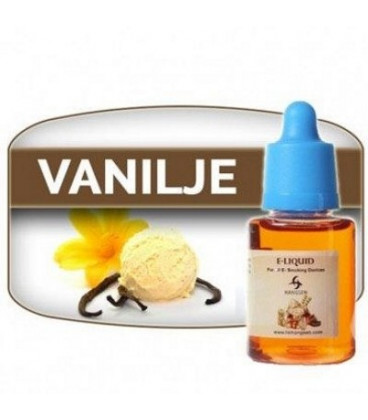E-væske md Vanilje, fås både med og uden nikotin, til at dampe fra en E-cigaret  -  fra Hangsen