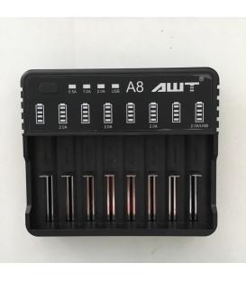 Batterioplader til 8 stk. 18650 batterier AWT A8-2A køb her!